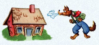 Three little pigs wolf blowing