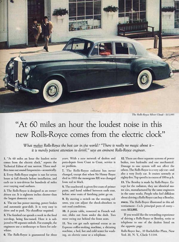 Vintage Luxury Advertising: Rolls-Royce Silver Cloud Car Ad, 1959