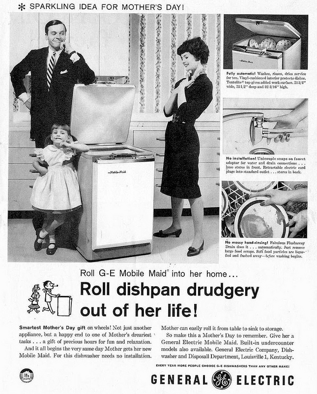 Retro Mother's Day Ad: GE Mobile Maid Dishwasher, 1959