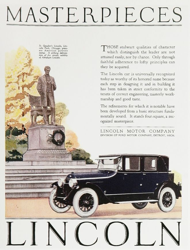 Luxury automobile advertising retro ad of the week for Lincoln motor car company