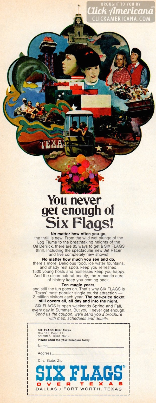 retro ad of the week  six flags over texas  1971