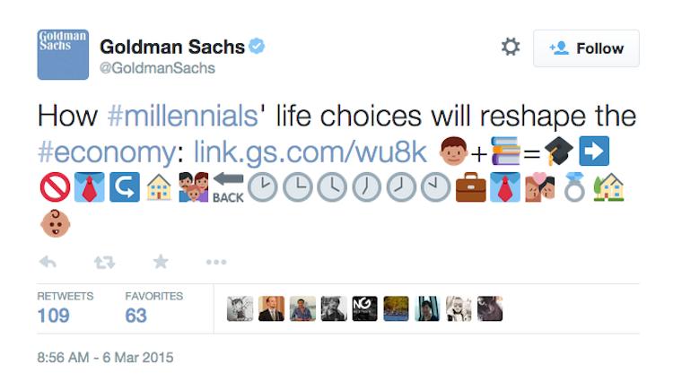 goldman sachs emojis in social media