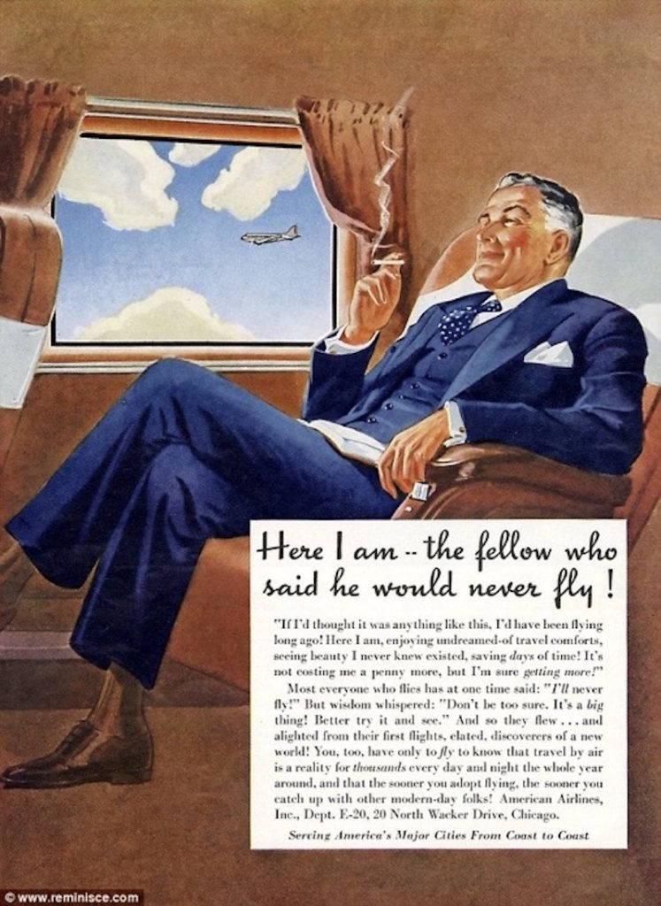 airline travel advertising 1949