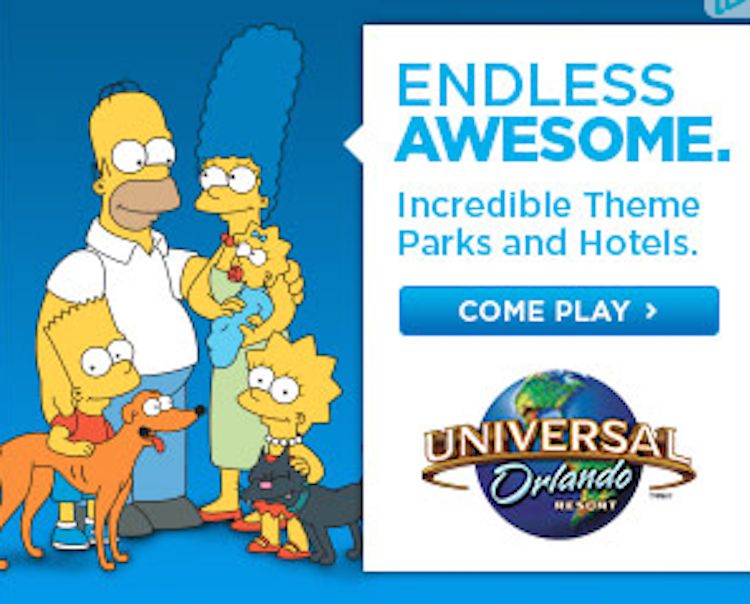 retargeting ads for theme parks simpsons